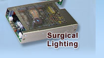 300W Surgical lighting standard medical power supply Single output 12-48 volt output. Open U-frame with option fan cover